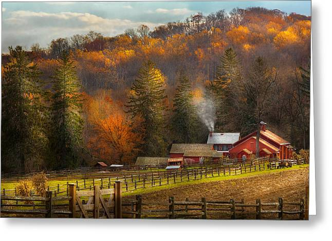 Fencing Greeting Cards - Autumn - Barn - The end of a season Greeting Card by Mike Savad