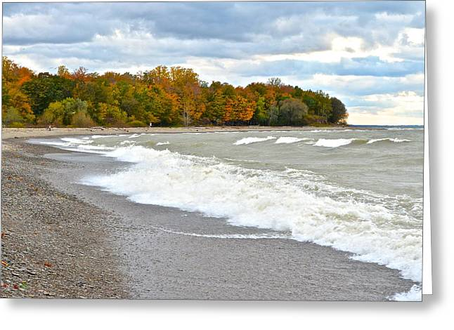 York Beach Greeting Cards - Autumn Beach Scene Greeting Card by Frozen in Time Fine Art Photography