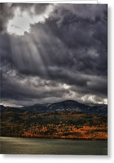 Crepuscular Rays Greeting Cards - Autumn Beams Greeting Card by Mary Jo Allen