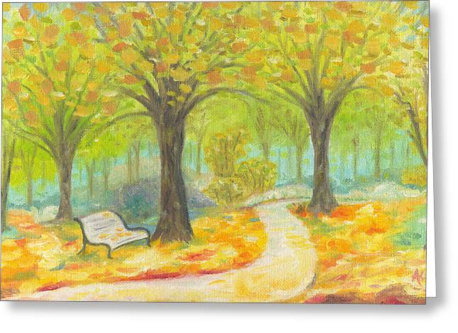 Park Scene Paintings Greeting Cards - Autumn Bench Greeting Card by Annamarie Lombardo