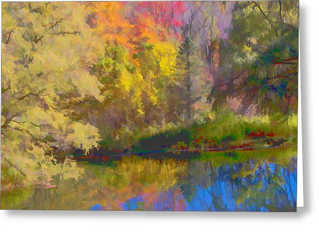 Digitalized Photograph Greeting Cards - Autumn Beside the Pond Greeting Card by Don Schwartz
