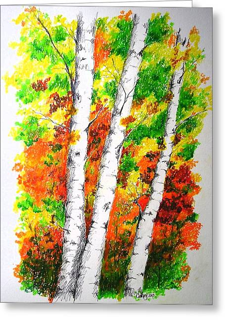 Camping Pastels Greeting Cards - Autumn Birches Greeting Card by Catherine Howley
