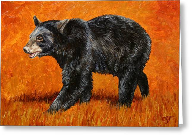 Autumn Prints Greeting Cards - Autumn Black Bear Greeting Card by Crista Forest