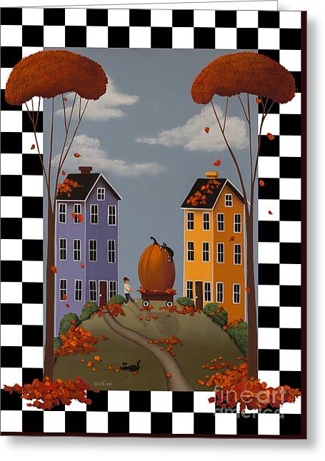American Primitive Art Greeting Cards - Autumn Blaze Greeting Card by Catherine Holman