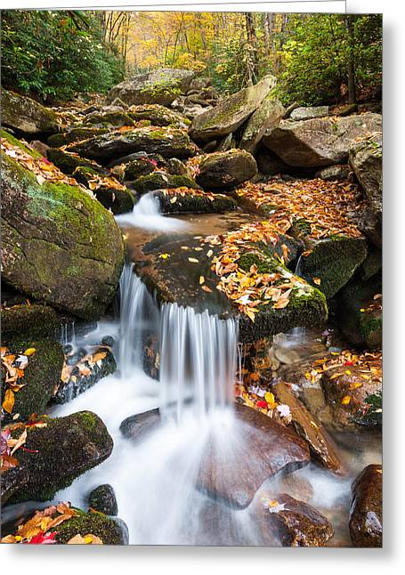 Southern Boone County Greeting Cards - Autumn Blue Ridge Mountain Cascade Greeting Card by Mark VanDyke