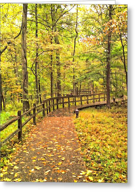 Split Rail Fence Greeting Cards - Autumn Boardwalk at Mammoth Cave National Park 2 Greeting Card by Greg Jackson