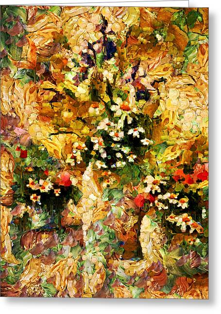 Vibrant Green Mixed Media Greeting Cards - Autumn Bounty - Abstract Expressionism Greeting Card by Georgiana Romanovna