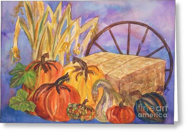 Farm Stand Greeting Cards - Autumn Bounty Greeting Card by Ellen Levinson