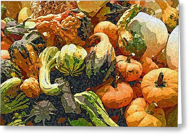Harvest Art Greeting Cards - Autumn Bounty Greeting Card by Jean Hall