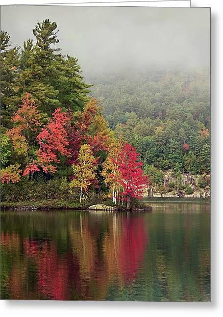 Pond.  Greeting Cards - Autumn Breath Greeting Card by Evelina Kremsdorf