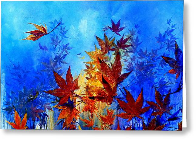 Blue And Purple Abstract Greeting Cards - Autumn Breeze Greeting Card by Hanne Lore Koehler
