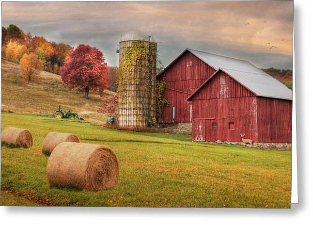 Pa Barns Greeting Cards - Autumn Breeze Greeting Card by Lori Deiter