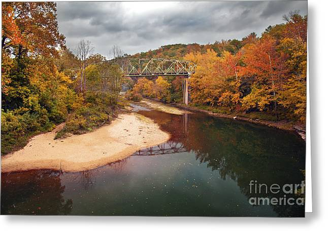Ozark Mountains Greeting Cards - Autumn Bridge Greeting Card by Brandon Alms