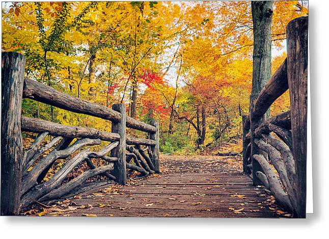 Rambling Greeting Cards - Autumn Bridge - Central Park - New York City Greeting Card by Vivienne Gucwa