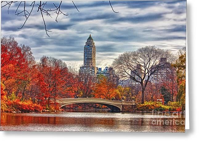 New York Newyork Digital Greeting Cards - Autumn Bridge Greeting Card by Nishanth Gopinathan
