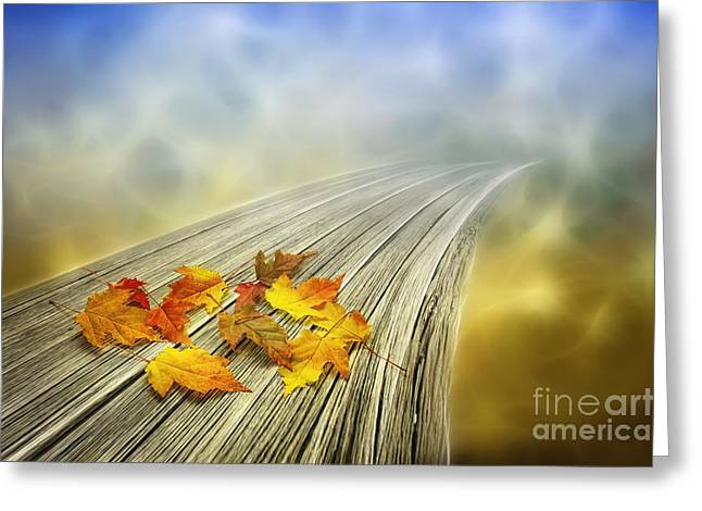 Autumn Digital Greeting Cards - Autumn bridge Greeting Card by Veikko Suikkanen