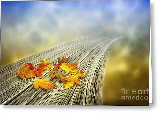 Autumn Bridge Greeting Card by Veikko Suikkanen