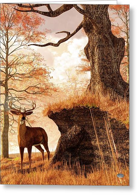 Harts Digital Greeting Cards - Autumn Buck Greeting Card by Daniel Eskridge