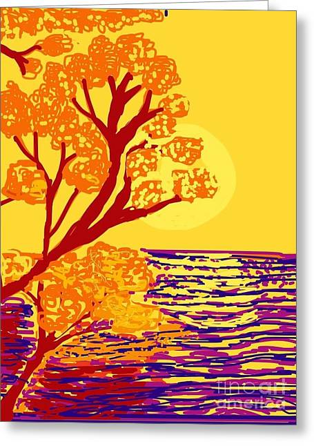 Trees Reflecting In Water Greeting Cards - Autumn by the sea  Greeting Card by Christine Degyansky