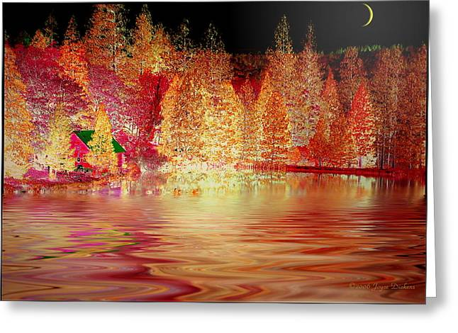 Numbers Plus Photography Digital Greeting Cards - Autumn Cabin On The Lake Greeting Card by Joyce Dickens