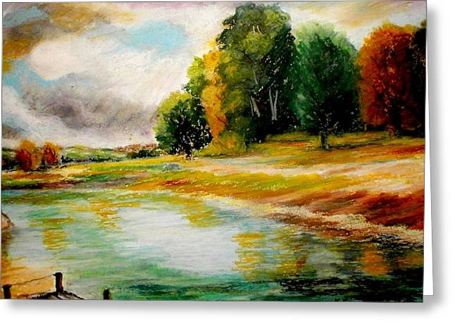 Landscape Framed Prints Pastels Greeting Cards - Autumn calm Greeting Card by Constantinos Charalampopoulos
