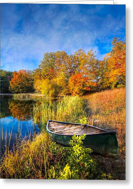 Tennessee River Greeting Cards - Autumn Canoe Greeting Card by Debra and Dave Vanderlaan