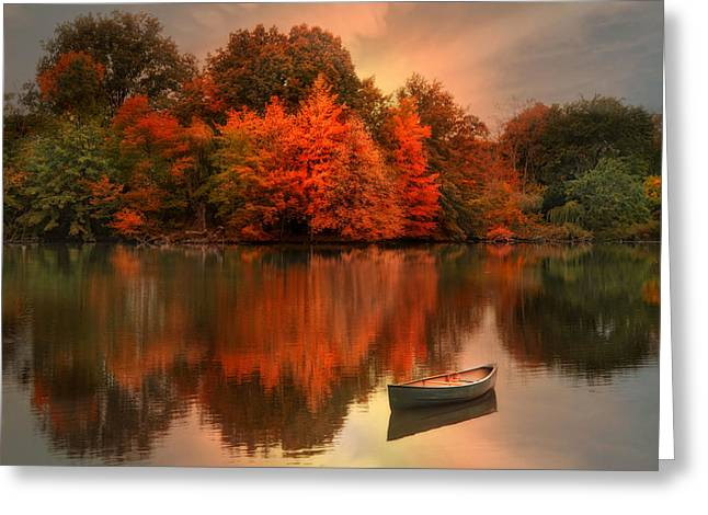 Canoe Greeting Cards - Autumn Canoe Greeting Card by Robin-lee Vieira