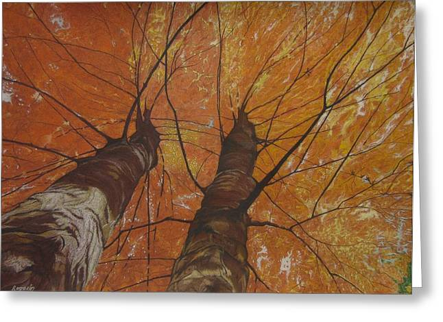 Dark Skies Pastels Greeting Cards - Autumn Canopy Greeting Card by Harvey Rogosin