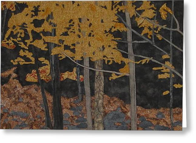 Yellow Leaves Tapestries - Textiles Greeting Cards - Autumn Carpet Greeting Card by Anita Jacques