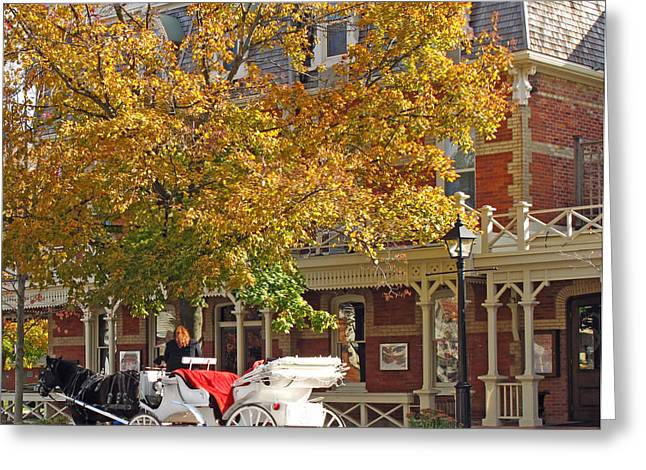 Niagara Carriage Greeting Cards - Autumn Carriage for Hire Greeting Card by Barbara McDevitt