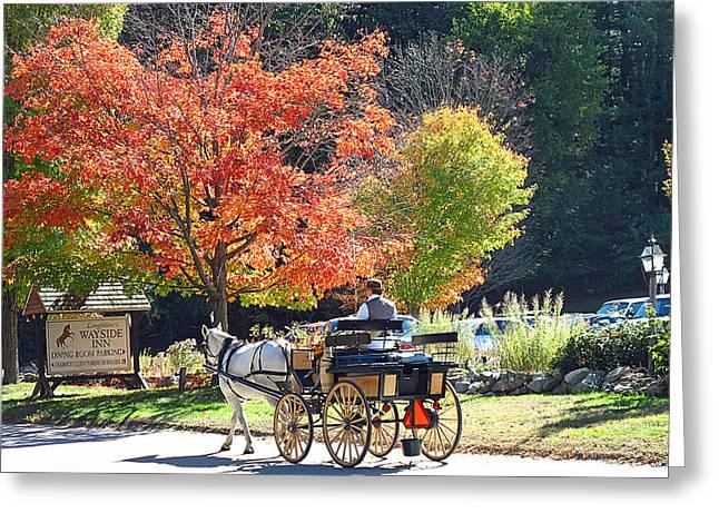 Wayside Inn Greeting Cards - Autumn Carriage Ride Greeting Card by Barbara McDevitt