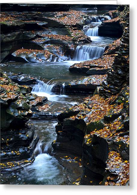 Finger Lakes Greeting Cards - Autumn Cascade Greeting Card by Frozen in Time Fine Art Photography
