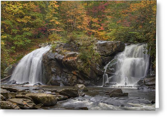 Nantahala Forest Greeting Cards - Autumn Cascades Greeting Card by Debra and Dave Vanderlaan