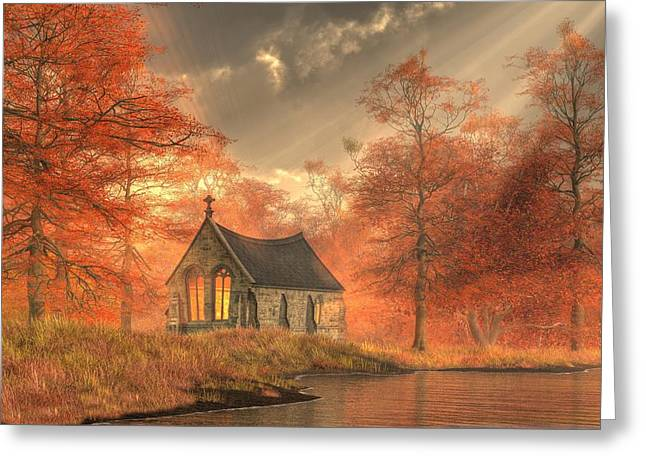 Christian Art Greeting Cards - Autumn Chapel Greeting Card by Christian Art