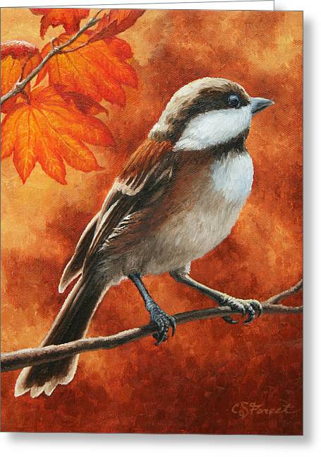 Yellow Brown Greeting Cards - Autumn Chickadee Greeting Card by Crista Forest