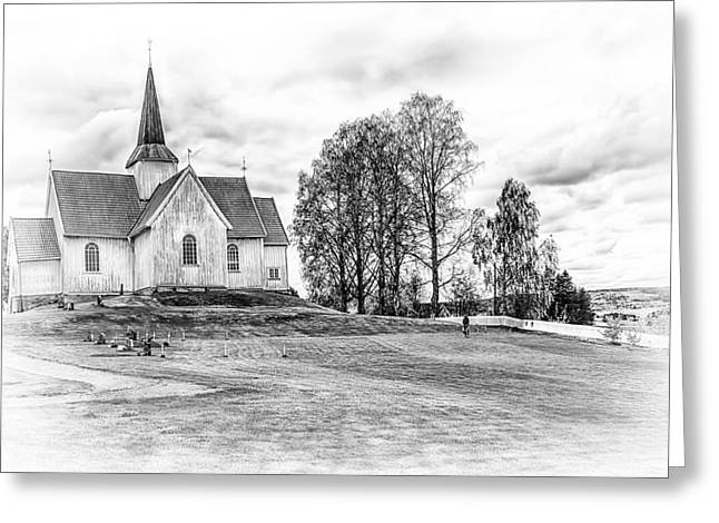 Rural Scenery Greeting Cards - Autumn Church BW Greeting Card by Erik Brede