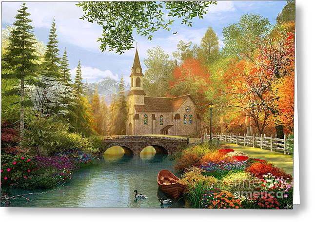 Picturesque Digital Greeting Cards - Autumn Church Greeting Card by Dominic Davison