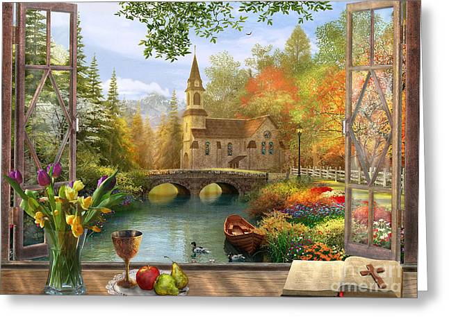 Peaceful Pond Greeting Cards - Autumn Church Frame Greeting Card by Dominic Davison