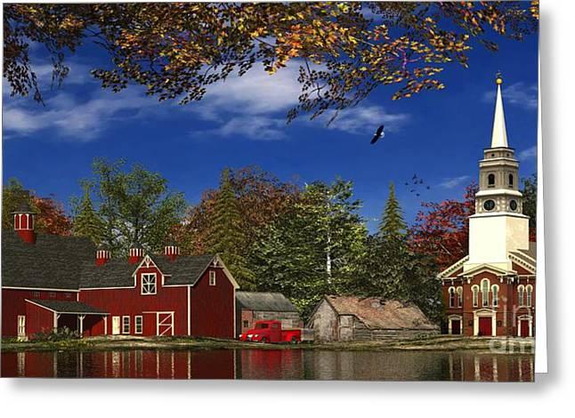 New England Digital Greeting Cards - Autumn Church Row Greeting Card by Dominic Davison