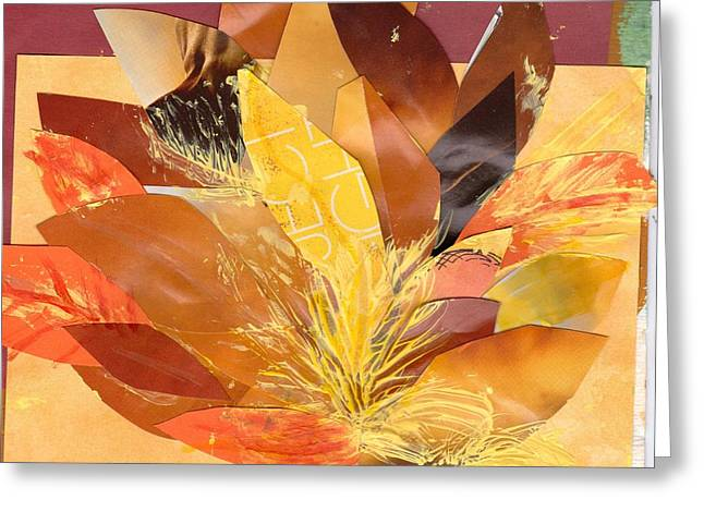 Autumn Collage Work In Progress Greeting Card by Anne-Elizabeth Whiteway