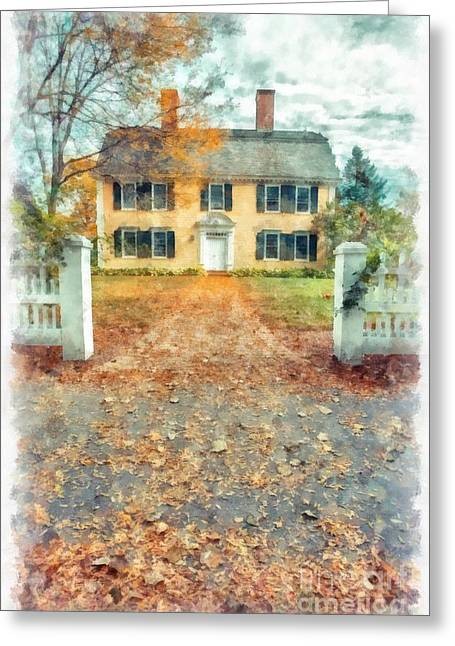 New Hampshire Leaves Greeting Cards - Autumn Colonial Splendor Greeting Card by Edward Fielding