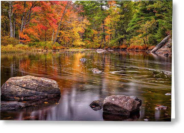 Barrington Greeting Cards - Autumn Color On The Isinglass River Greeting Card by Jeff Sinon