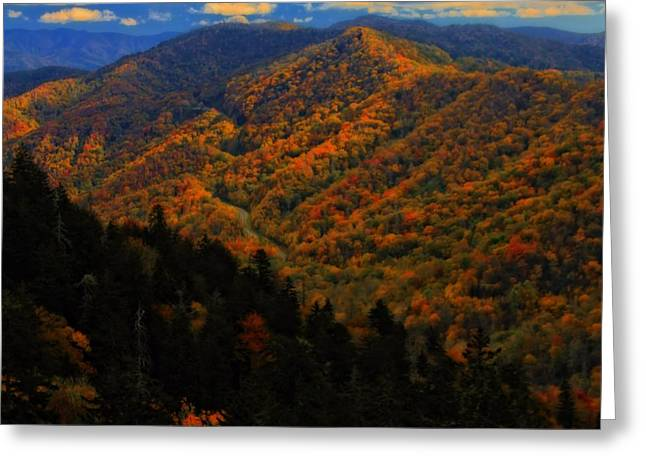 Gatlinburg Tennessee Greeting Cards - Autumn Colors Along The Smoky Mountains Greeting Card by Dan Sproul