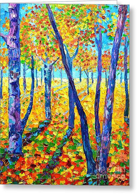 Abstract Expressionist Greeting Cards - Autumn Colors Greeting Card by Ana Maria Edulescu