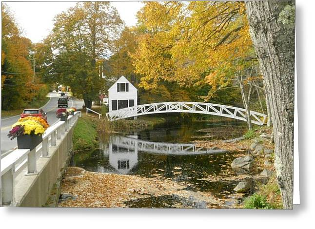 Town Of Franklin Greeting Cards - Autumn Colors at Somesville Bridge Mount Desert Island Maine Greeting Card by Lena Hatch