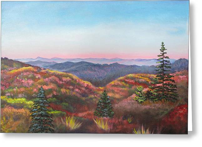 North Carolina Paintings Greeting Cards - Autumn Colors Greeting Card by Eve  Wheeler