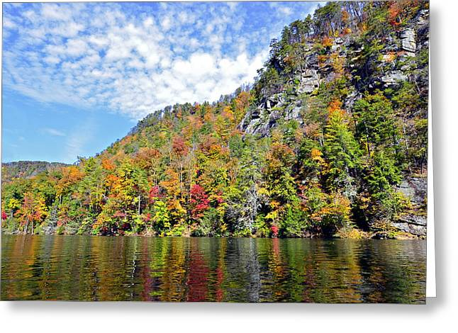 Autumn Colors On A Lake Greeting Card by Susan Leggett