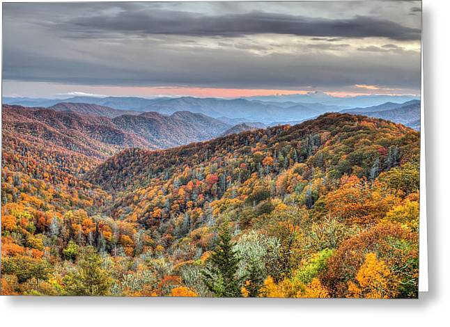 Appalachian Trail Greeting Cards - Autumn colors on the Blue Ridge Parkway at sunset Greeting Card by Pierre Leclerc Photography
