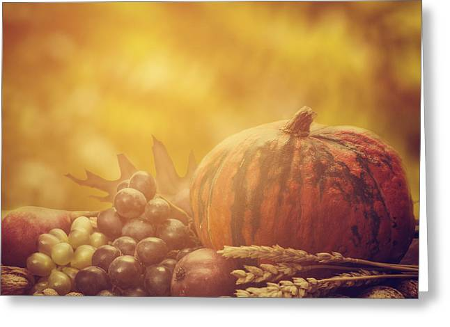 Gourds Greeting Cards - Autumn Concept Greeting Card by Jelena Jovanovic