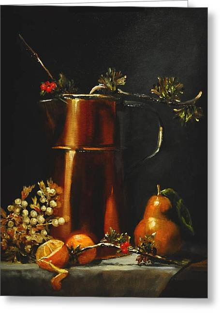 Holly Berry Still Life Greeting Cards - Autumn Copper Greeting Card by Elizabeth Quinn
